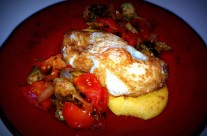 Quick Fix: Fried Egg Polenta Cakes with Spicy Okra & Tomatoes
